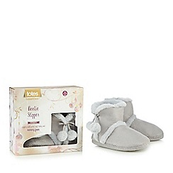 Totes - Grey suedette Memory Foam slipper boots