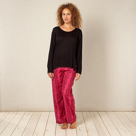 Cyberjammies - Online exclusive pink and black snowflake print pyjamas