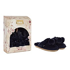 Totes - Navy suedette fur pom pom mule slippers