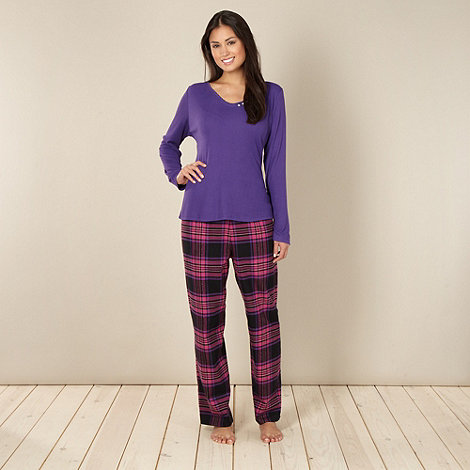 Cyberjammies - Purple ribbed and checked pyjama set