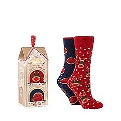 Totes - Pack of 2 navy 'Reindeer' slipper socks
