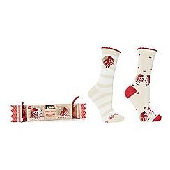 Totes - Pack of 2 natural patterned slipper socks