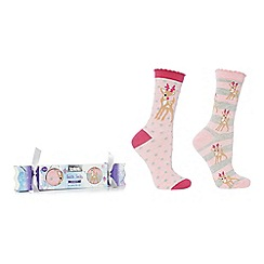 Totes - Pack of 2 pink patterned slipper socks