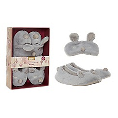 Totes - Grey novelty slippers and eye mask