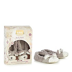 Totes - Grey novelty bear ballet slippers