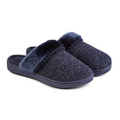 Totes - Navy fine knit 'Pillowstep' mule slippers