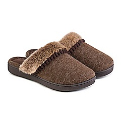 Totes - Brown fine knit 'Pillowstep' mule slippers