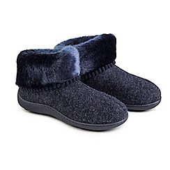 Totes - Navy fine knit 'Pillowstep' slipper boots