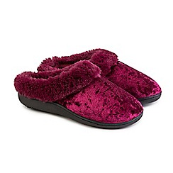 Totes - Pink crushed velour pillowstep heeled mule slippers