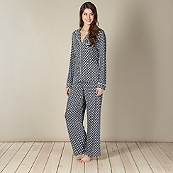 J by Jasper Conran - Designer dark grey spotted pyjama set