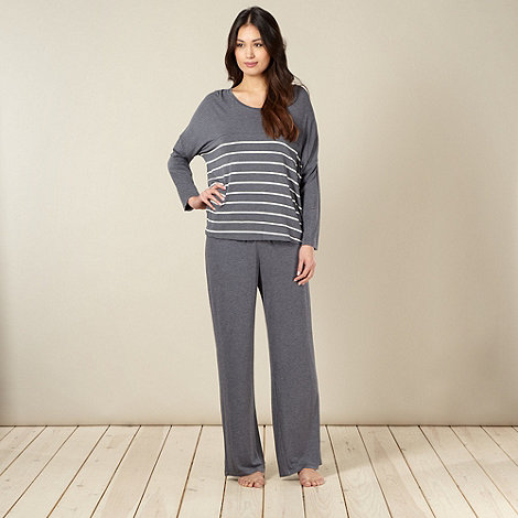 J by Jasper Conran - Designer dark grey striped jersey pyjama set
