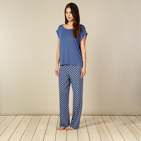 J by Jasper Conran - Designer navy top and spotted bottoms pyjama set
