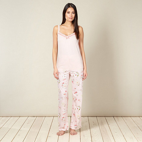 RJR.John Rocha - Designer light pink camisole and floral bottoms pyjama set