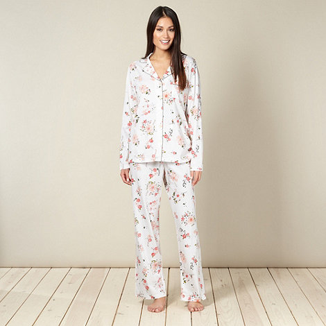RJR.John Rocha - Designer cream floral jersey pyjama set