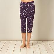 Navy floral cropped pyjama bottoms