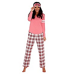 Lounge & Sleep - Maroon cotton blend check print 'Margot' pyjama set with sleep mask