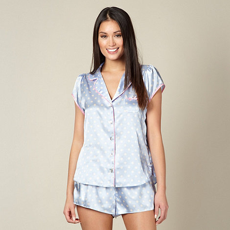 Floozie by Frost French - Designer pale blue spotted satin short pyjama set