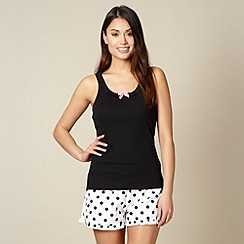 Floozie by Frost French - Black vest and spot short pyjama set