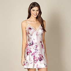 Presence - Pink floral satin chemise