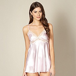 Presence - Pale pink satin babydoll and shorts set
