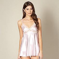 Presence - Pale pink satin babydoll and shorts set
