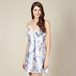 Presence - Blue watercolour spotted satin chemise
