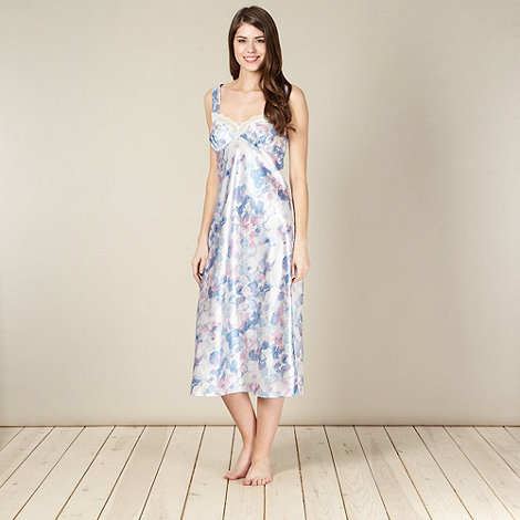 Presence - Blue watercolour spotted long satin night dress