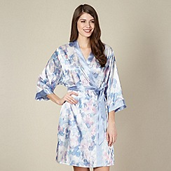 Presence - Blue watercolour spotted satin kimono
