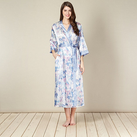 Presence - Blue watercolour spotted long satin wrap