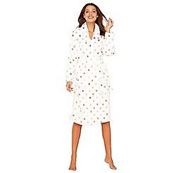 Lounge & Sleep - Cream spot print fleece dressing gown