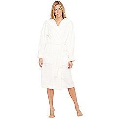 Lounge & Sleep - Cream heart embossed fleece dressing gown
