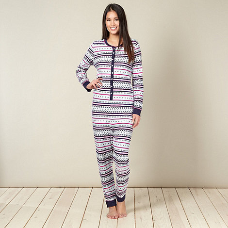 Lounge & Sleep - Cream waffle textured aztec onesie