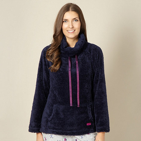 Lounge & Sleep - Navy cowl neck fluffy lounge top
