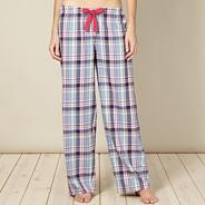 Blue checked long pyjama bottoms