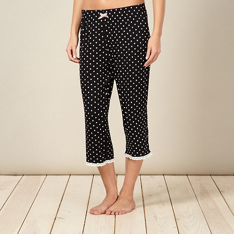 Lounge & Sleep - Black spot printed cropped pyjama bottoms