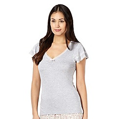 Lounge & Sleep - Grey jersey lace trim pyjama t-shirt