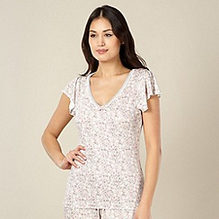 Lounge & Sleep - Pale pink floral lace trim pyjama t-shirt