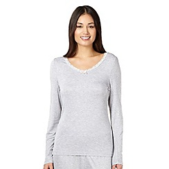 Lounge & Sleep - Grey jersey lace trim pyjama top