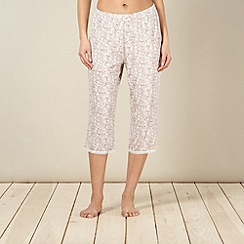 Lounge & Sleep - Pale pink floral lace trim cropped pyjama bottoms