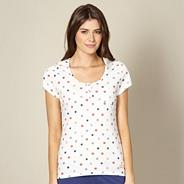 Cream spotted short sleeved pyjama top