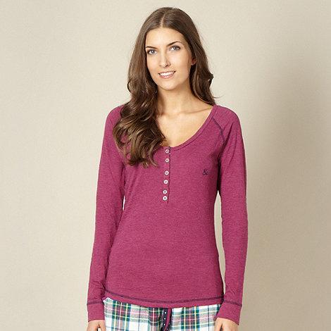 Iris & Edie - Designer pink button neck pyjama top