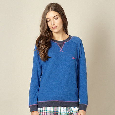 Iris & Edie - Designer blue long sleeve sweat pyjama top