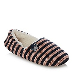 Lounge & Sleep - Navy striped knit mule slippers