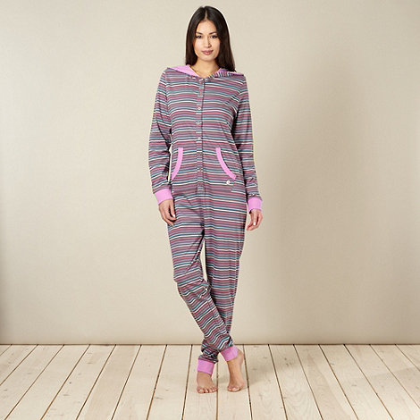 Iris & Edie - Grey striped hooded onesie