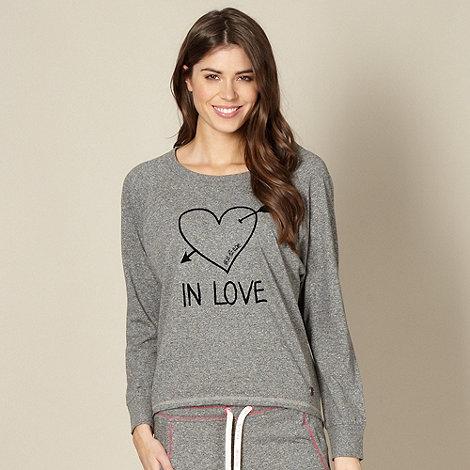 Iris & Edie - Designer grey flecked +In Love+ pyjama top