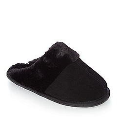 J by Jasper Conran - Black suede memory foam mule slippers
