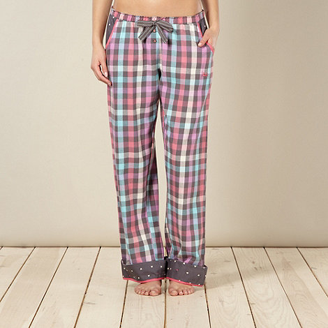 Iris & Edie - Pink checked turn up pyjama bottoms