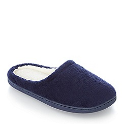 Lounge & Sleep - Navy memory foam mule slippers