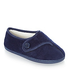 Lounge & Sleep - Navy memory foam slipper boots