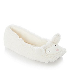 Lounge & Sleep - Cream sheep embroidered fleece ballet slippers